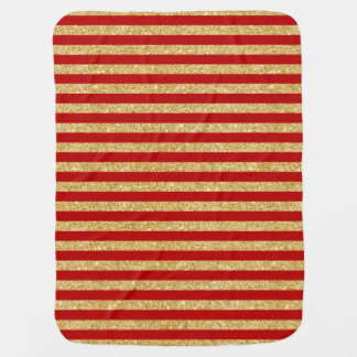 Elegant Faux Gold Glitter and Red Stripe Pattern Baby Blanket