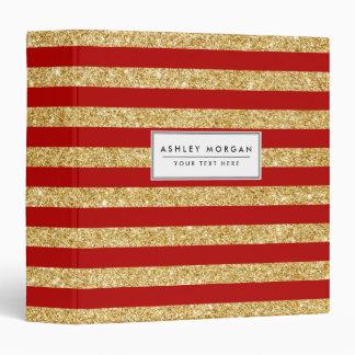 Elegant Faux Gold Glitter and Red Stripe Pattern Binders