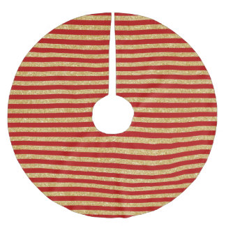 Elegant Faux Gold Glitter and Red Stripe Pattern Brushed Polyester Tree Skirt
