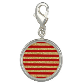 Elegant Faux Gold Glitter and Red Stripe Pattern Charm