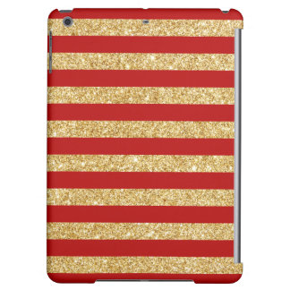 Elegant Faux Gold Glitter and Red Stripe Pattern Cover For iPad Air