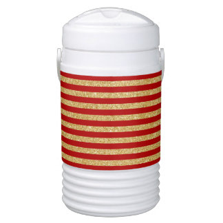 Elegant Faux Gold Glitter and Red Stripe Pattern Drinks Cooler