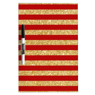 Elegant Faux Gold Glitter and Red Stripe Pattern Dry Erase Board