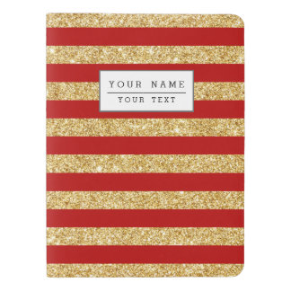 Elegant Faux Gold Glitter and Red Stripe Pattern Extra Large Moleskine Notebook