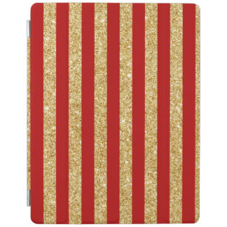 Elegant Faux Gold Glitter and Red Stripe Pattern iPad Cover