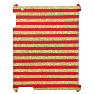 Elegant Faux Gold Glitter and Red Stripe Pattern iPad Covers