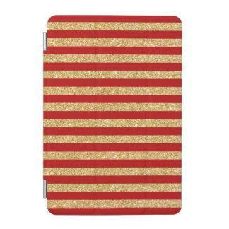 Elegant Faux Gold Glitter and Red Stripe Pattern iPad Mini Cover