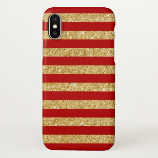 Elegant Faux Gold Glitter and Red Stripe Pattern iPhone X Case