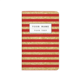 Elegant Faux Gold Glitter and Red Stripe Pattern Journal