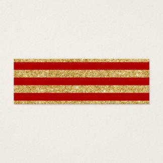 Elegant Faux Gold Glitter and Red Stripe Pattern Mini Business Card
