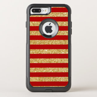 Elegant Faux Gold Glitter and Red Stripe Pattern OtterBox Commuter iPhone 8 Plus/7 Plus Case