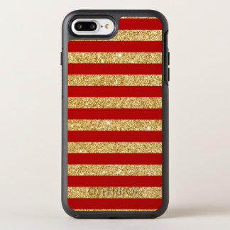 Elegant Faux Gold Glitter and Red Stripe Pattern OtterBox Symmetry iPhone 8 Plus/7 Plus Case