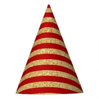Elegant Faux Gold Glitter and Red Stripe Pattern Party Hat