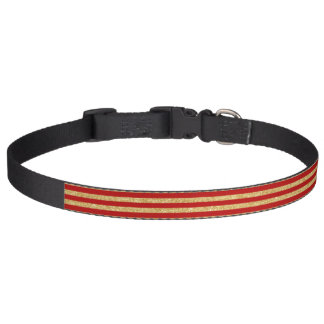 Elegant Faux Gold Glitter and Red Stripe Pattern Pet Collar
