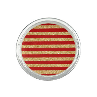 Elegant Faux Gold Glitter and Red Stripe Pattern Photo Rings