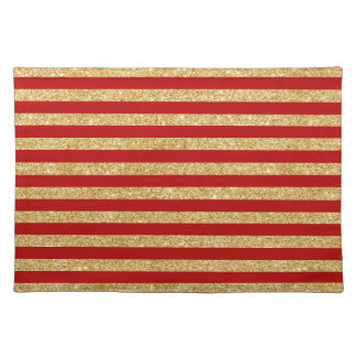 Elegant Faux Gold Glitter and Red Stripe Pattern Placemat