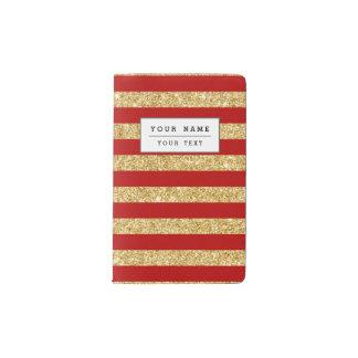 Elegant Faux Gold Glitter and Red Stripe Pattern Pocket Moleskine Notebook