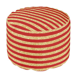 Elegant Faux Gold Glitter and Red Stripe Pattern Pouf