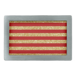 Elegant Faux Gold Glitter and Red Stripe Pattern Rectangular Belt Buckle