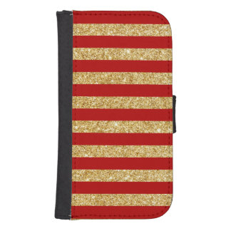 Elegant Faux Gold Glitter and Red Stripe Pattern Samsung S4 Wallet Case
