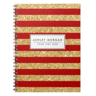 Elegant Faux Gold Glitter and Red Stripe Pattern Spiral Notebook