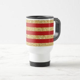 Elegant Faux Gold Glitter and Red Stripe Pattern Travel Mug