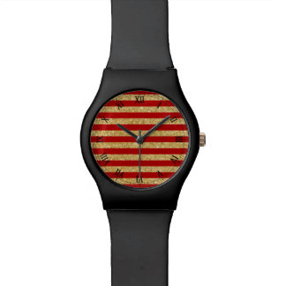 Elegant Faux Gold Glitter and Red Stripe Pattern Watch
