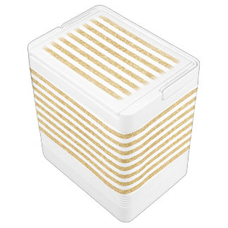 Elegant Faux Gold Glitter and White Stripe Pattern