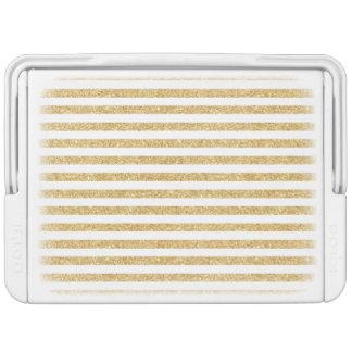 Elegant Faux Gold Glitter and White Stripe Pattern