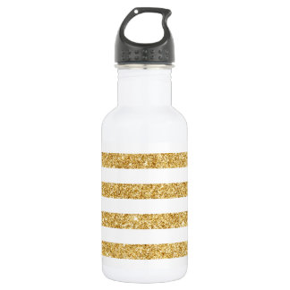 Elegant Faux Gold Glitter and White Stripe Pattern 532 Ml Water Bottle