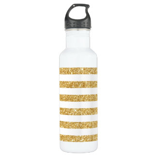 Elegant Faux Gold Glitter and White Stripe Pattern 710 Ml Water Bottle