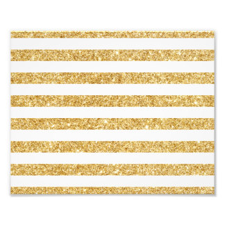 Elegant Faux Gold Glitter and White Stripe Pattern Art Photo