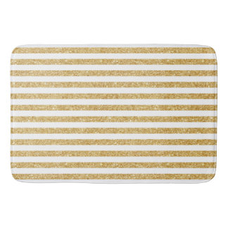 Elegant Faux Gold Glitter and White Stripe Pattern Bath Mat