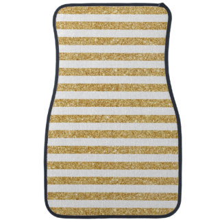 Elegant Faux Gold Glitter and White Stripe Pattern Car Carpet