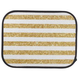Elegant Faux Gold Glitter and White Stripe Pattern Car Mat