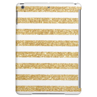 Elegant Faux Gold Glitter and White Stripe Pattern Case For iPad Air