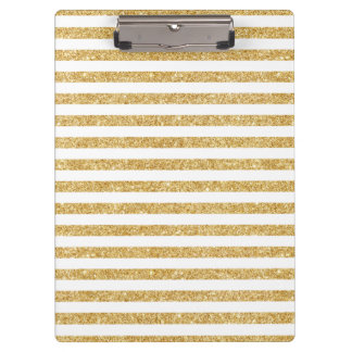 Elegant Faux Gold Glitter and White Stripe Pattern Clipboard