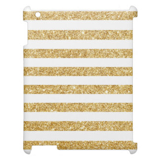 Elegant Faux Gold Glitter and White Stripe Pattern Cover For The iPad