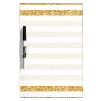Elegant Faux Gold Glitter and White Stripe Pattern Dry Erase Board