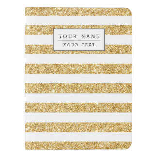 Elegant Faux Gold Glitter and White Stripe Pattern Extra Large Moleskine Notebook
