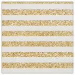 Elegant Faux Gold Glitter and White Stripe Pattern Fabric