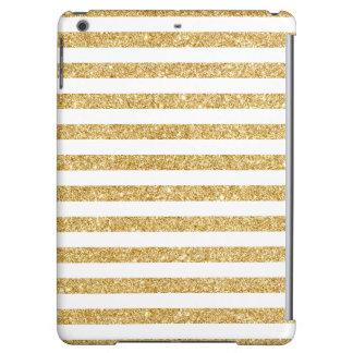 Elegant Faux Gold Glitter and White Stripe Pattern iPad Air Case