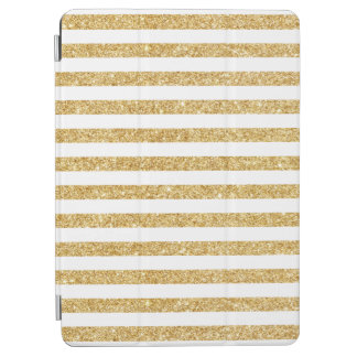 Elegant Faux Gold Glitter and White Stripe Pattern iPad Air Cover