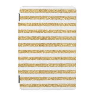 Elegant Faux Gold Glitter and White Stripe Pattern iPad Mini Cover