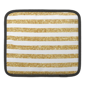 Elegant Faux Gold Glitter and White Stripe Pattern iPad Sleeve