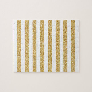 Elegant Faux Gold Glitter and White Stripe Pattern Jigsaw Puzzle