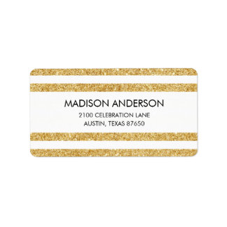 Elegant Faux Gold Glitter and White Stripe Pattern Label