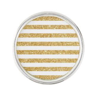 Elegant Faux Gold Glitter and White Stripe Pattern Lapel Pin