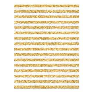 Elegant Faux Gold Glitter and White Stripe Pattern Letterhead