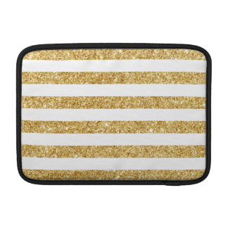 Elegant Faux Gold Glitter and White Stripe Pattern MacBook Air Sleeves